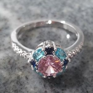 Beautiful blue purple & pink silver plated ring 7